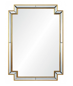 Mirror Image Home Distressed Gold Leaf Mirror Framed Mirror