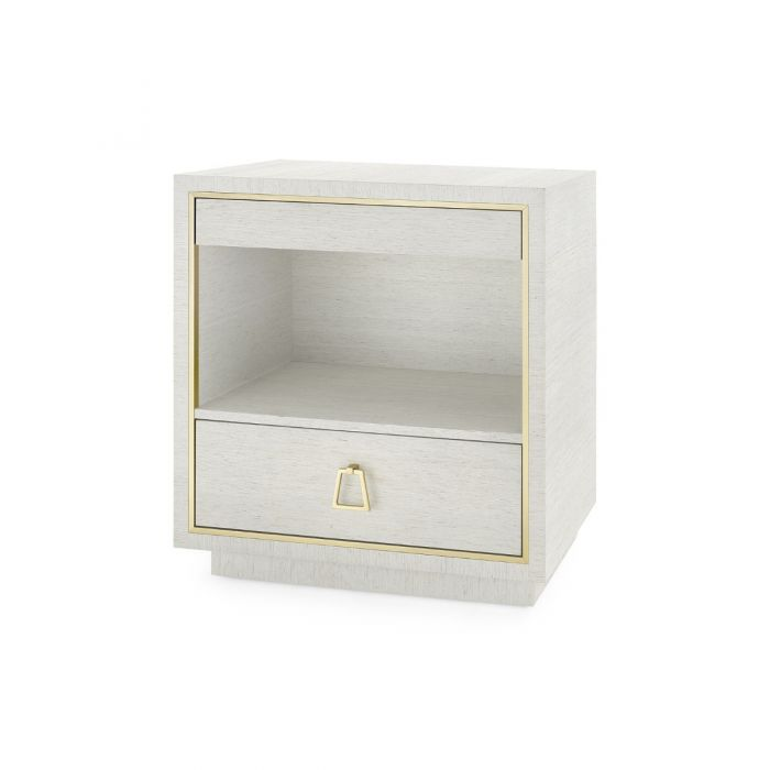 Parker 2 Drawer Side Table Silver Lacquered Grasscloth