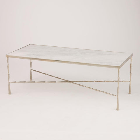 global views spike cocktail table antique nickel and marble