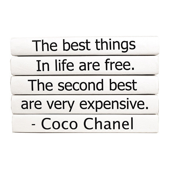 E Lawrence The Best Things In Life Are Free Coco Chanel Quote Book Set U2013  CLAYTON GRAY HOME