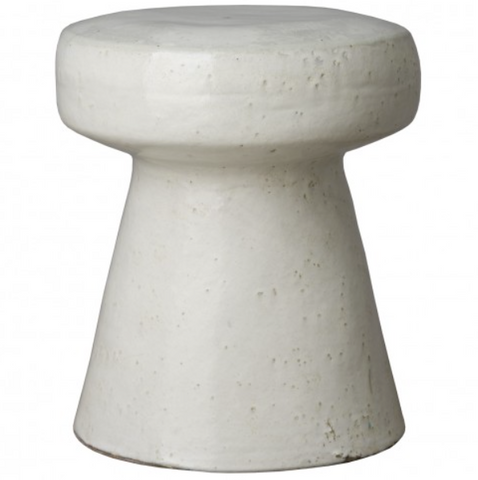 Emissary Mushroom Stool White Glaze Seating Table Ceramic