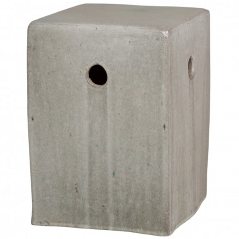 Emissary Square Stool Gray Glaze Ceramic Seating Table