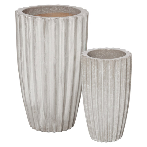 emissary large tall round ridge pot ceramic grey glaze