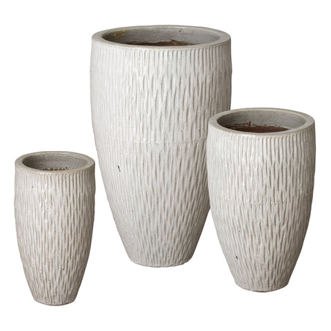 emissary tall white textured pot three sizes
