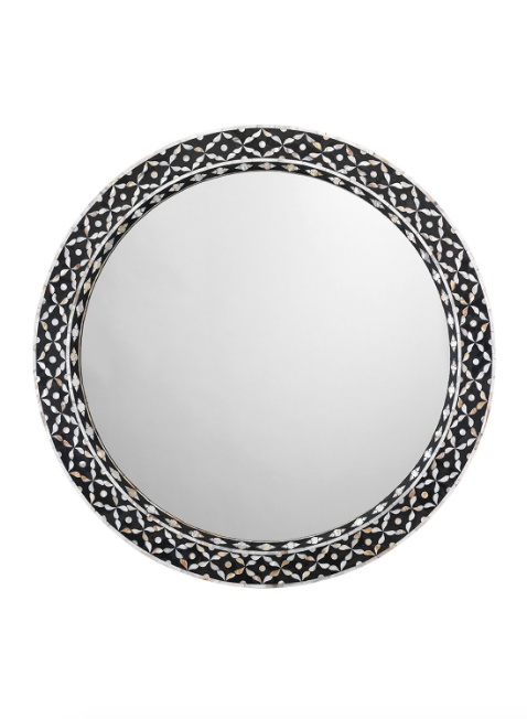 Jamie Young Evelyn Round Mirror Mother of Pearl Silver Glass
