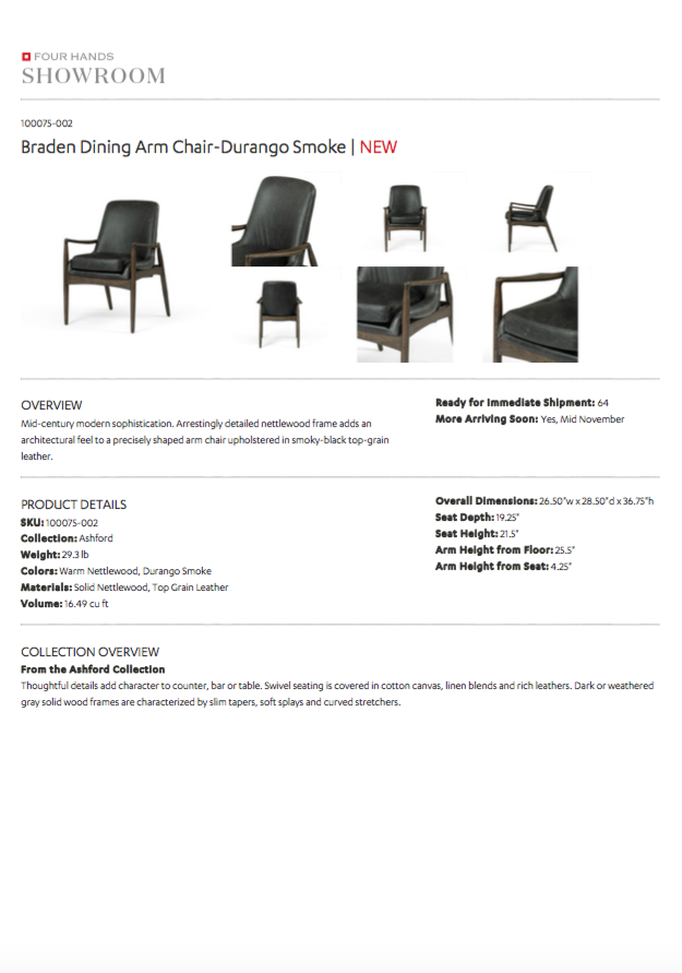 four hands braden dining arm chair durango smoke tearsheet