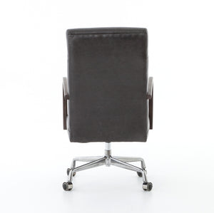 four hands bryson desk chair chaps ebony back