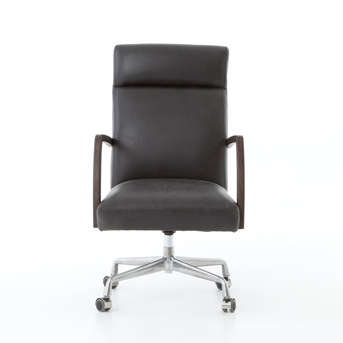 four hands bryson desk chair chaps ebony front