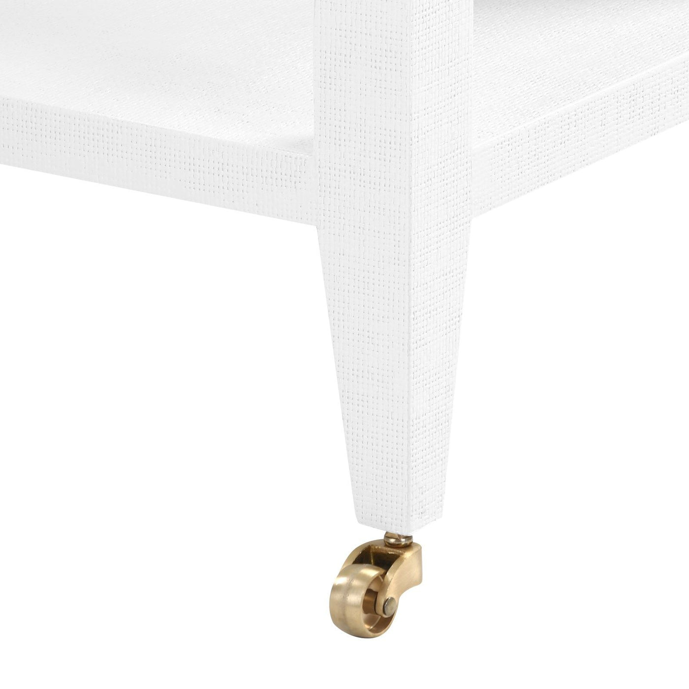 four hands isadora console white wheels