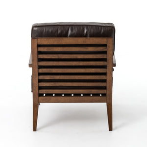 four hands laurent wood frame accent chair dark brown leather back