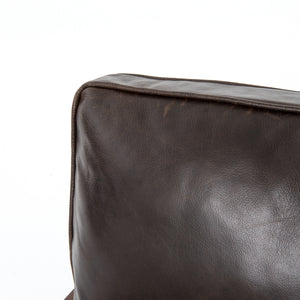 four hands laurent wood frame accent chair dark brown leather cushion