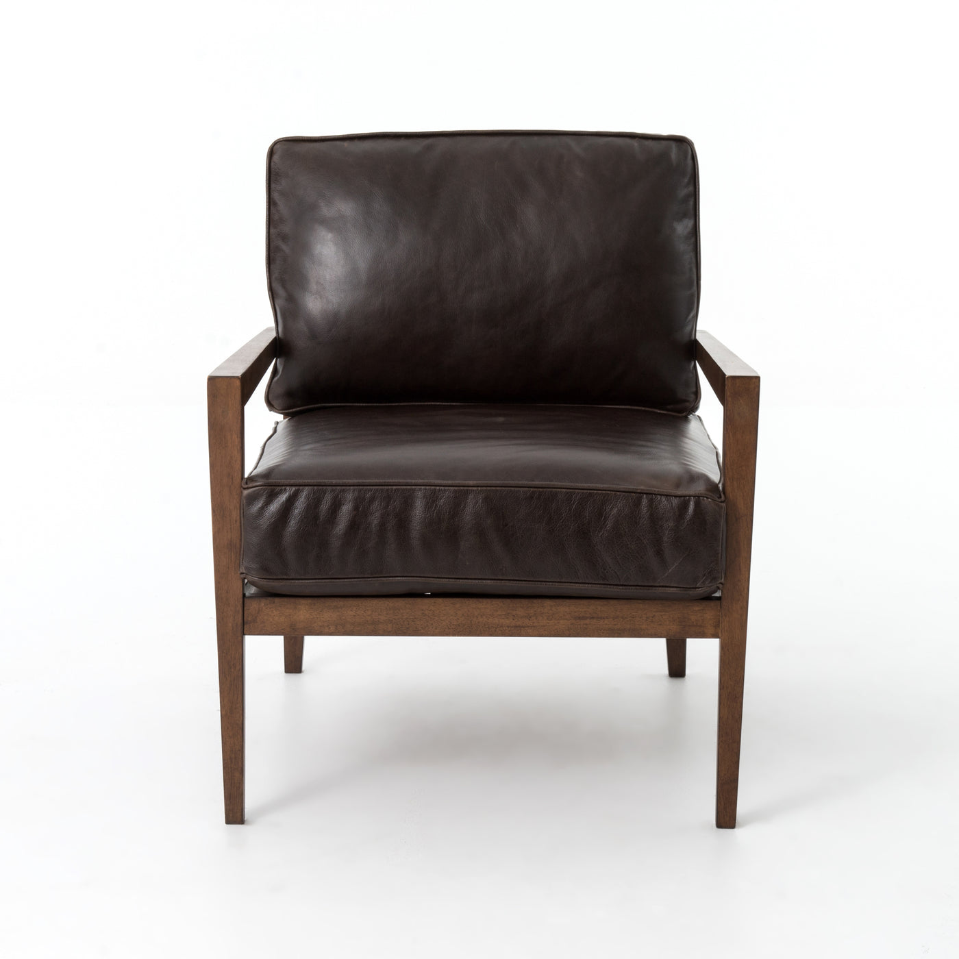 four hands laurent wood frame accent chair dark brown leather front