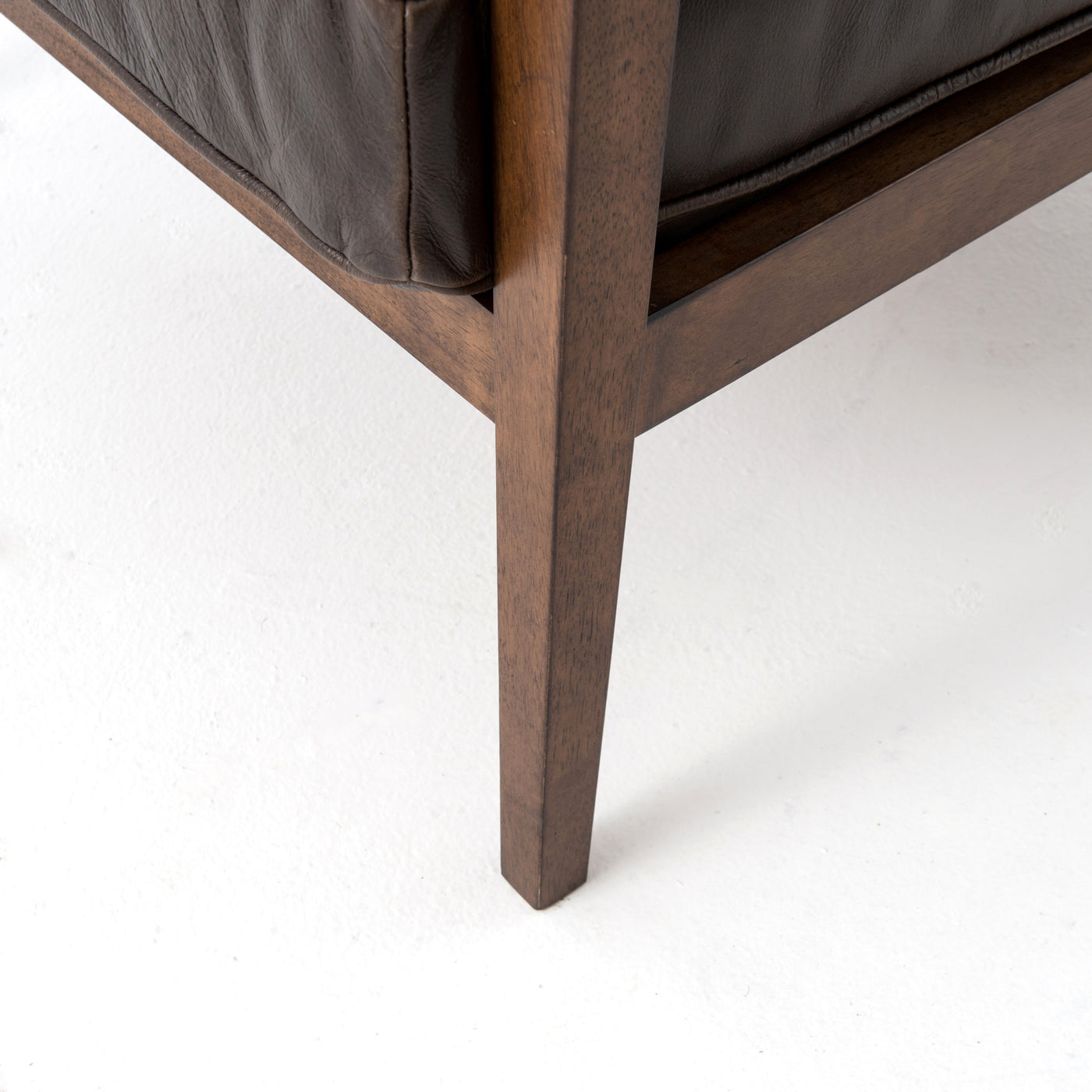 four hands laurent wood frame accent chair dark brown leather leg