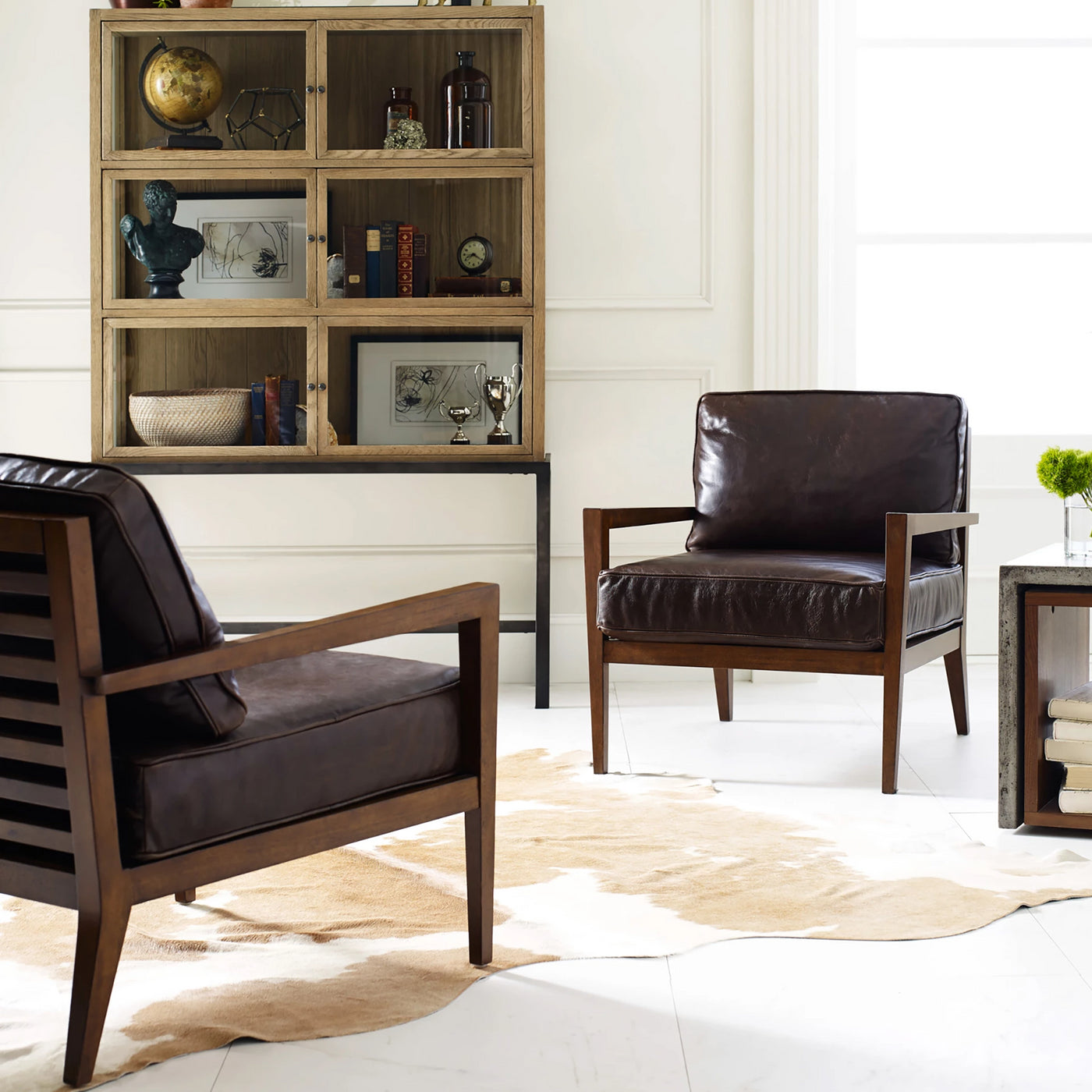four hands laurent wood frame accent chair dark brown leather styled in pairs