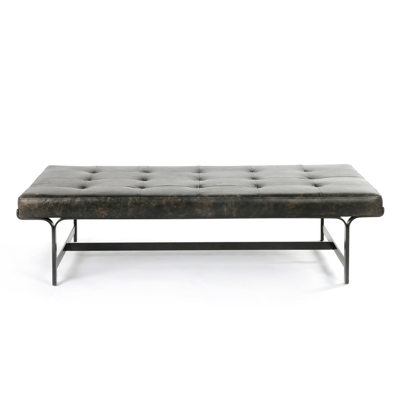 four hands lindy coffee table front view leather iron