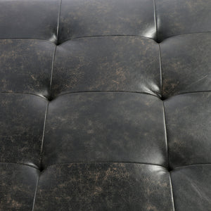 four hands lindy coffee table leather tufted top