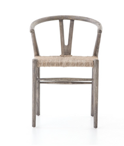 Four Hands Muestra Dining Chair Basket Weave Teak Synthetic Weathered Gray