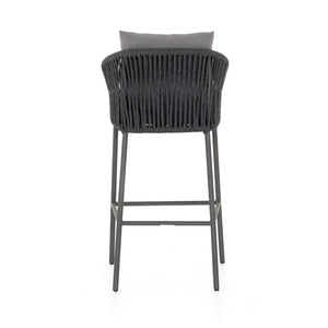 four hands porto outdoor bar stool charcoal back