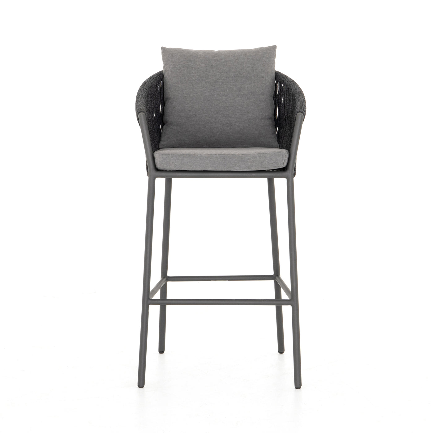 four hands porto outdoor bar stool charcoal front