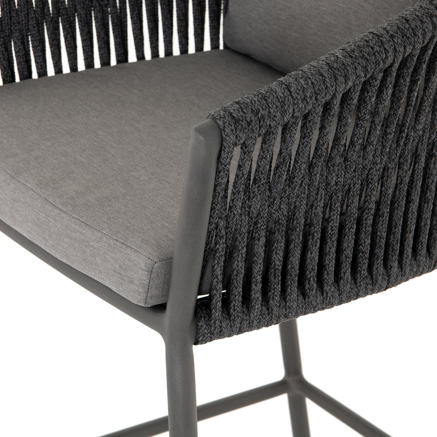 four hands porto outdoor bar stool charcoal detail