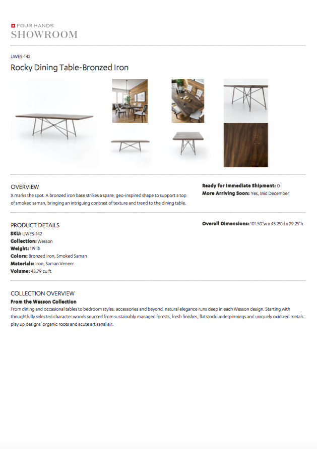 four hands rocky dining table angle tearsheet