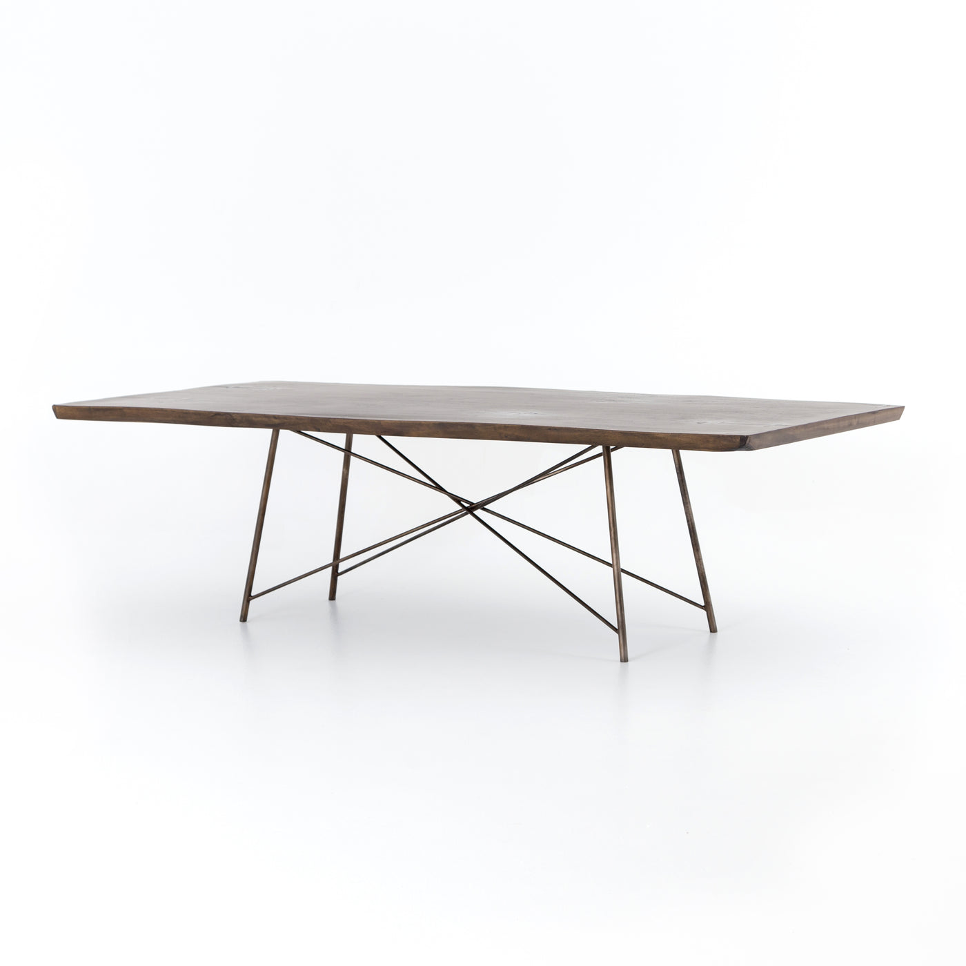 four hands rocky dining table angle