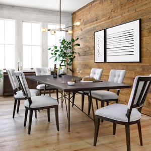 four hands rocky dining table styled