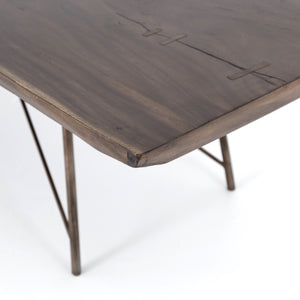 four hands rocky dining table angle corner