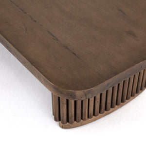 four hands rutherford coffee table ashen brown top detail
