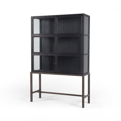 four hands spencer curio cabinet  drifted black
