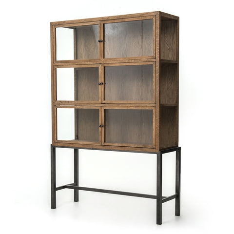 four hands spencer curio cabinet brown angle