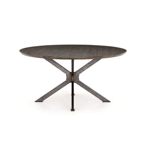 Spider Round Dining Table English Brown Oak