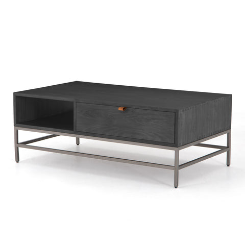 four hands trey coffee table black poplar