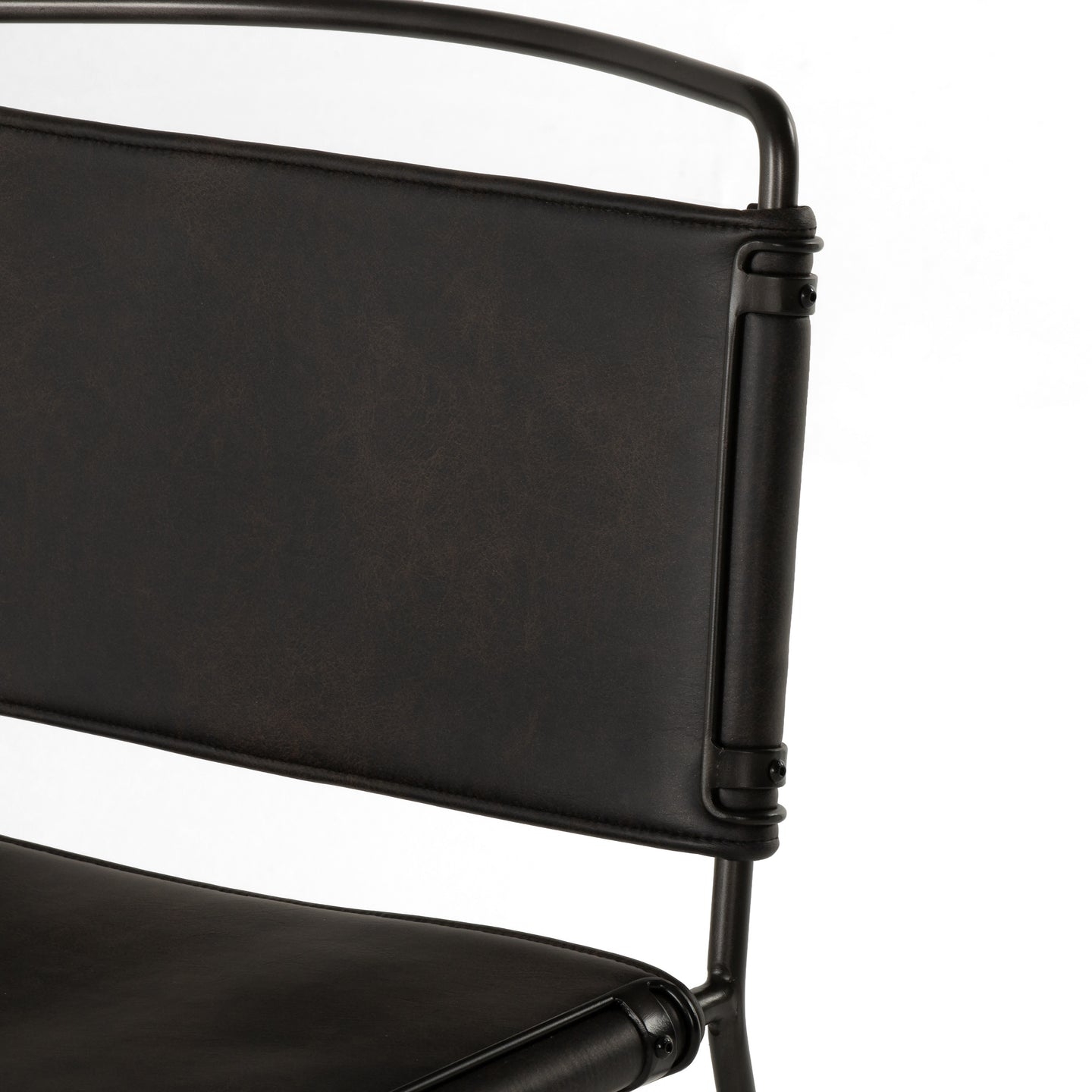 Four Hands Wharton Dining Chair Distressed Black Leather