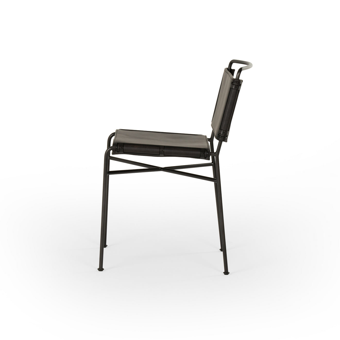 Picture of: Four Hands Wharton Dining Chair Distressed Black Leather