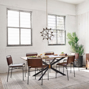 four hands wharton dining table distressed brown styled