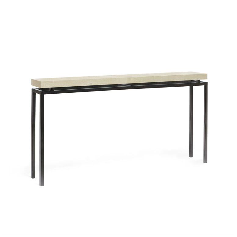 made goods benjamin narrow console ivory shagreen and black