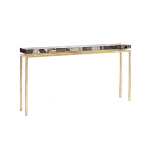 made goods benjamin narrow console dark mix petrfied wood and gold