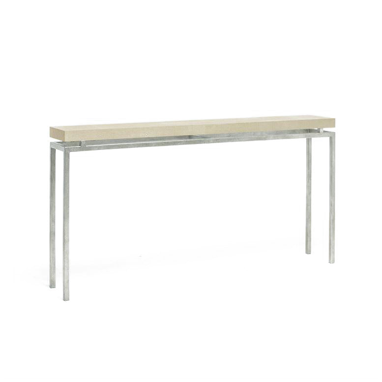 made goods benjamin narrow console ivory and silver