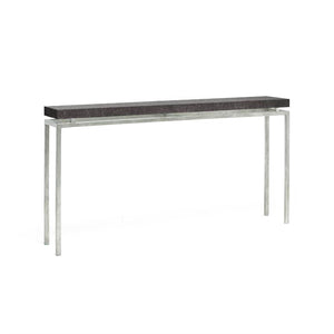 made goods benjamin narrow console charcoal and silver
