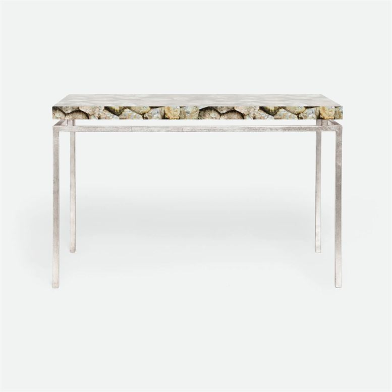 made goods benjamin console silver mother of pearl and silver base