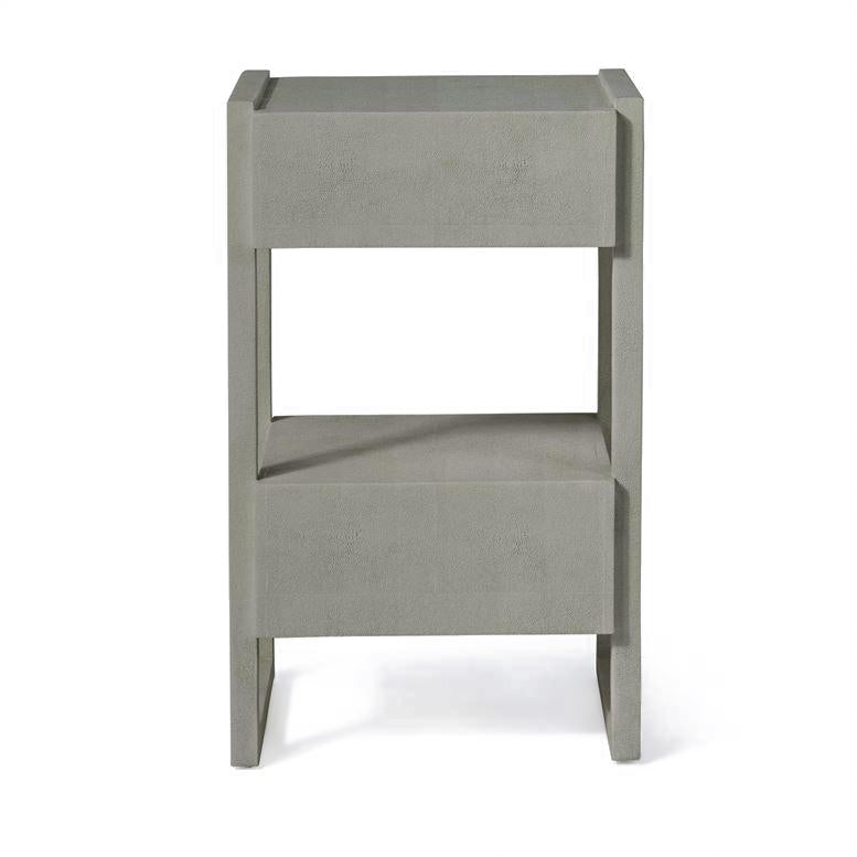 made goods carrigan single nightstand castor grey vintage faux shagreen back