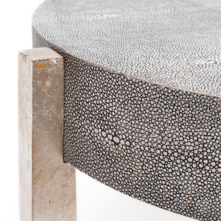 Dexter Coffee Table Silver and Cool Gray Faux Shagreen