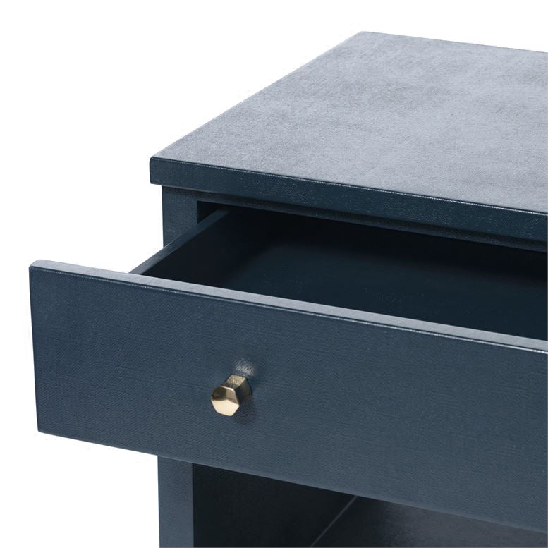 Made Good Maris Double Nightstand True Navy Faux Belgian Linen detail