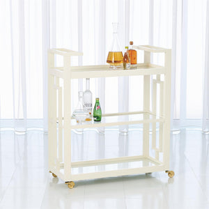 global views grid block bar cart white rolling wood shelves entertain