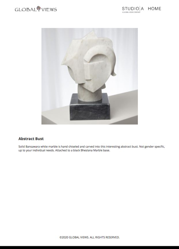 global views abstract bust tearsheet