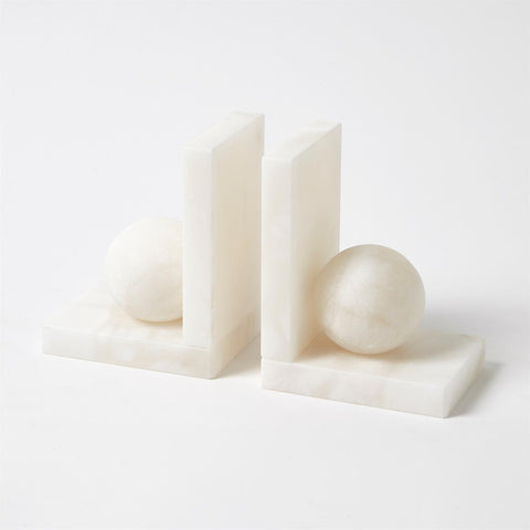 global views alabaster ball bookend set
