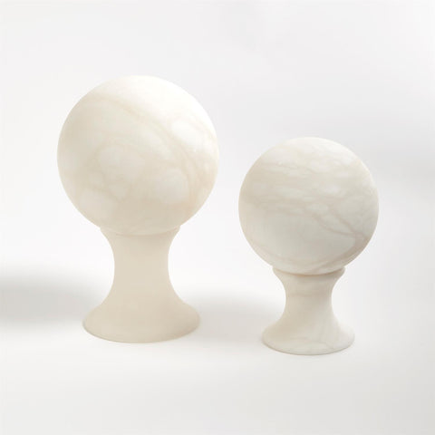 global views alabaster sphere set of two