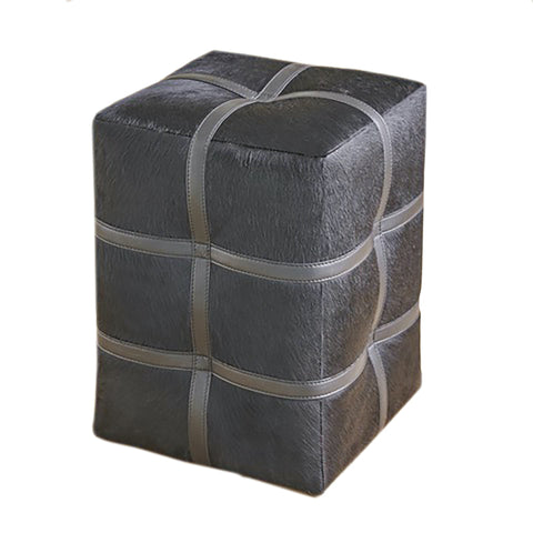 global views belted pouf black