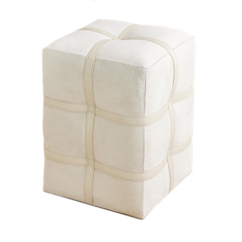 global views belted pouf ivory hair on hide